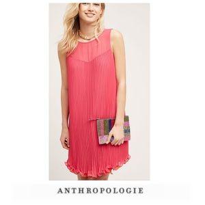 Anthropologie Maeve Pleated Ruffle Trim Dress